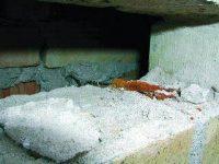 Korroderet trådbinder i murværk